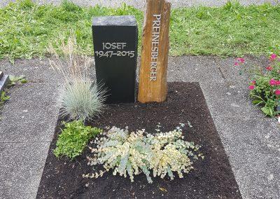 Kombination mit versteinertem Holz auf dem Friedhof Esslingen Berkheim
